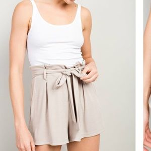 TAUPE high waisted belted shorts